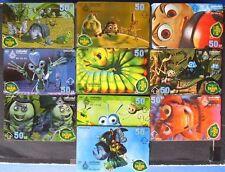 s037) Thaïlande Disney A Bug´s life complet Lot de 10 lot Carte de téléphone