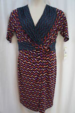 Jones New York Dress Sz 14 Teal Bliss Multi Color Print Jersey Cocktail Party