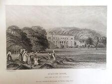 1839 ANTIQUE PRINT; Vue de Stratton Park, Winchester, Hampshire