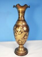 """Solid Brass Vase From India Gold Floral Pattern w Scalloped Edge 11"""" Tall"""