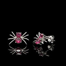 0.50CT Created Red Ruby Spider Earrings 14K Solid White Gold Studs Round-Cut