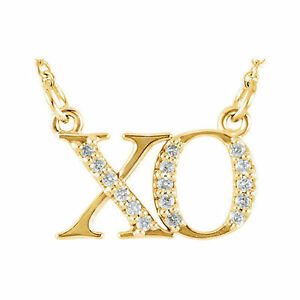 """XO"" Diamond 16.50"" Necklace In 14K Yellow Gold"