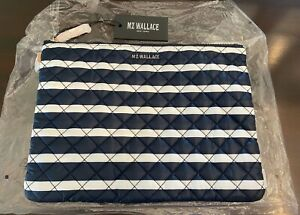 NWT MZ Wallace Charter Stripe Metro Pouch Bag Navy White New with Tags