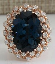 14.31 Carat Natural Topaz 14K Rose Gold Diamond Ring