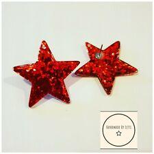 Giant Red Glitter Star Stud Earrings ⭐resin💫39mm🌟Christmas Secret Santa