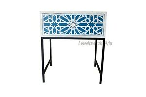 Handmade Bone Inlay Chest of 1 Drawer Bedside Table End Table Side Table Blue