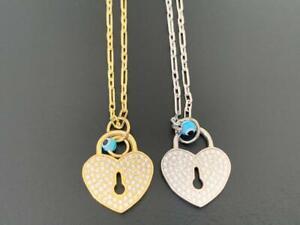 925 Sterling Silver Gold Heart Locket Evil Eye Necklace Mati Cubic Zirconia CZ