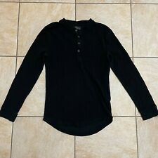 Zara Mens Henley Shirt Black Thermal Long Sleeve Slim Fit Buttons S
