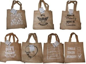 Hessian Tote Bag Small Shopping Bag Jute Lunch Bag Storage Cute Gift Diff Styles