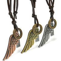 Men Women Gothic Angel Wing Leather Necklace Vintage Punk Charms Pendant Jewelry