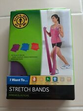 Golds Gym 3 Pack Stretch Bands Resistance Toning Flexibility Core With Guide