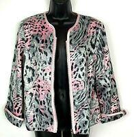 Joseph Ribkoff 12 jacket zip sparkle black pink animal print satin L cocktail
