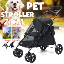 Pet Stroller Cat Dog Cage 4 Wheel Travel Folding Waterproof Shopping Car *f
