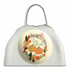 Give Thanks with Pumpkins Thanksgiving White Metal Cowbell Cow Bell Instrument
