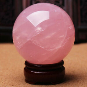 30mm Natural Pink Rose Quartz Magic Crystal Healing Ball Sphere with Stand UK