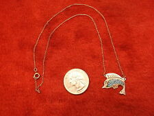 NEAT OLD VTG MEXICAN TAXCO/TASCO STERLING SILVER & TURQUOISE SWORDFISH NECKLACE