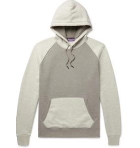 $695 Ralph Lauren Purple Label Color Block Grey Fleece Hoodie Sweatshirt Sweater