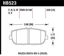Hawk for 06-11 Mazda Miata MX-5 Rear DTC-60 Race Brake Pads - hawkHB523G.539