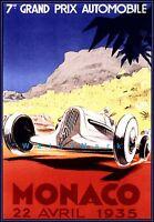 Monaco Grand Prix 1935 Vintage Poster Print Retro Style Car Racing Decor Art