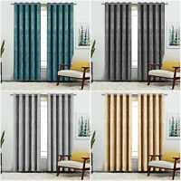 Thermal Insulated Blackout Curtains Eyelet Ring Top Bedroom Curtain & Tiebacks