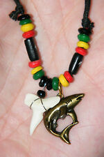 """SHARK Necklace Bronze Great White Shark & Real Tooth 18""""-33"""" Cord Real Teeth NEW"""