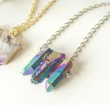 Triple Rainbow Crystal Stone Necklace-Boho Chakra-SILVER Bohemian-Healing Quartz