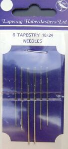 Tapestry Needles By Lapwing Size 18/24 (6 On Card) Hand Sewing Needles - SNT