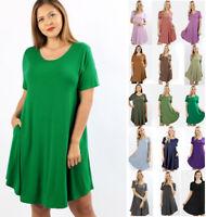 S-3X Women's Casual T-Shirt Dress Soft Knit Short Sleeve Loose Solids Scoop Neck