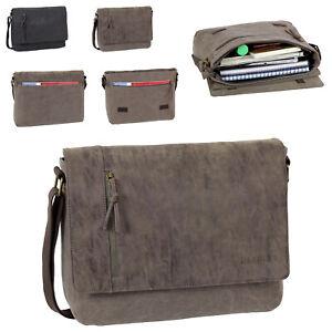 J.Jones Umhängetasche Canvas Tasche Schultertasche Messenger Bag Schwarz Braun