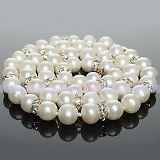 "Natural White Pearl & Swarovski Crystal Necklace 17"" Long"