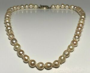 """Vintage Cultured Broke Akoya Pearl Choker Necklace & Silver Clasp - 16.5"""" Length"""