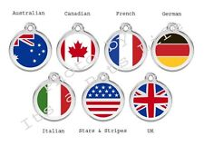 Flag Enamel/Solid Stainless Steel Engraved ID Dog/Cat Tag