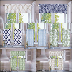 1-3PC SET KITCHEN SMALL PANELS VALANCE LINED WINDOW CURTAIN GEOMETRIC PRINTED FS