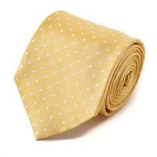 NWT $295 CESARE ATTOLINI Yellow and White Jacquard Dot Pattern Silk Tie
