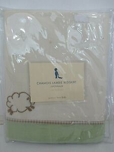 Pottery Barn Kids NIB Chamois Lambie Crib Bed Skirt Cream/Tan/Green 100% Cotton