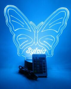 Butterfly Night Light Up Table Lamp 16 Colors LED With Remote, Personalized FREE