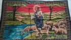 VINTAGE JESUS TENDING SHEEP WOVEN TAPESTRY 100% COTTON MADE IN TURKEY 58 X 38