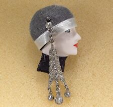 LADY HEAD woman FACE Porcelain-Look Resin Brooch Pin vintage RS flapper girl