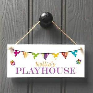 Personalised Kids Playhouse Door Sign - Handmade Childs Playhouse Sign