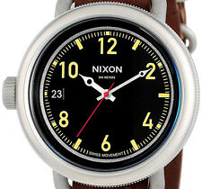 PRE-OWNED $300 Nixon Men's October Leather Swiss Watch A279019 WITH DEFECT