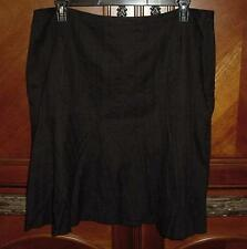 LAPIS BLACK FAUX WRAP RUFFLE A-LINE COTTON SKIRT SZ 2X   K6