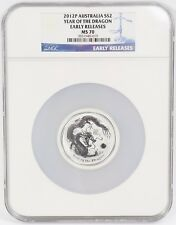 2012-P Australia 2 oz .999 Silver $2 Year of the Dragon NGC MS70 Early Releases