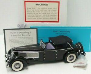 Franklin Mint 1940 Duesenberg SJ Town Car, Convertible Black 1:24 Diecast - A674
