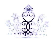 Tiara/Corona De Plata Tono recorte Anillo Con Cristal, tamaño de Reino Unido R