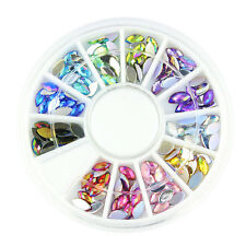 3D Acrylic Nail Art Tips DIY Decoration Crystal Glitter Rhinestones Wheel 7hK
