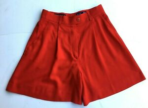 ESCADA Shorts Italy 38 VTG Double Pleat Red Wool Hi Rise Sit At Waist pockets