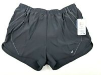 ASICS Womens Quad Running Workout Shorts Grey W/ Drawstring Size XL