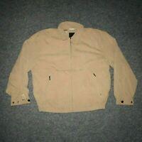 London Fog Men's Large Casual Brown Beige Zip Vintage Collared Bomber Jacket