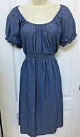 Motherhood Maternity Size Large L 12 14 Blue Denim Jean Smocked Casual Dress