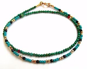 turquoise 14K gold beads bracelet black diamond cut silver bead ruby emerald